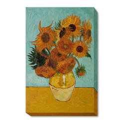 """overstockArt.com - Van Gogh - Sunflowers Oil Painting - 24"""" x 36"""" Oil Painting On Canvas Hand painted oil reproduction of one of the most famous Van Gogh paintings, Sunflowers. The original masterpiece was created in 1888. Today it has been carefully recreated detail-by-detail, color-by-color to near perfection. Why settle for a print when you can add sophistication to your rooms with a beautiful fine gallery reproduction oil painting? Vincent Van Gogh's restless spirit and depressive mental state fired his artistic work with great joy and, sadly, equally great despair. Known as a prolific Post-Impressionist, he produced many paintings that were heavily biographical. This work of art has the same emotions and beauty as the original by Van Gogh. Why not grace your home with this reproduced masterpiece? It is sure to bring many admirers!"""