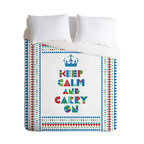 Andi Bird Keep Calm And Carry On Twin Duvet Cover - Whether you're ready for a calm night's sleep or ready to carry on, this duvet cover covers the court in cheeky style. With bright colors and shapes custom printed on soft, white woven polyester, it comes in your choice of bed sizes. Pop in your favorite duvet, zip the hidden zipper and rest easy, your highness.