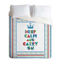 DENY Designs - Andi Bird Keep Calm And Carry On Twin Duvet Cover - Whether you're ready for a calm night's sleep or ready to carry on, this duvet cover covers the court in cheeky style. With bright colors and shapes custom printed on soft, white woven polyester, it comes in your choice of bed sizes. Pop in your favorite duvet, zip the hidden zipper and rest easy, your highness.