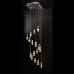 Trend Lighting - Icarus Falling A900026 - Chandelier | Trend - Trend Icarus Falling Crystal chandelier. Polished chrome base with hand polished cut crystals. Available with 9,16 and 26 crystals / lights and choose from 2 crystal types: 4-Sided Cut Crystal (S), 3-Sided Cut Crystal (T) Manufacturer:�_Trend LightingSize:9 light: 14 in. length x 14 in. width x 24 - 80 in. max height16 light: 18 in. length x 18 in. width x 44 - 96 in. max height25 light: 23 1/2 in. length x 23 1/2 in. width x 81 - 120 in. max heightLight Source:�_12V/ 20 watt. Halogen - included Location:�_DryCertifications: UL Dimmable