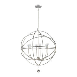 Crystorama - Crystorama 9228-OS Olde Silver chandelier - Shown in picture: Olde Silver chandelier; This fashion forward wrought iron chandelier from the Solaris Collection mixes clean sphere shaped contemporary lines with a transitional Olde Silver finish. This unique partnership allows this fixture to work in almost any setting.
