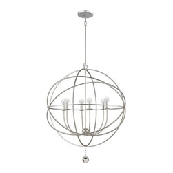 Crystorama - Crystorama Solaris 1 Tier Chandelier in Olde Silver - Shown in picture: Olde Silver chandelier - part of the new Solaris collection; This fashion forward wrought iron chandelier from the Solaris Collection mixes clean sphere shaped contemporary lines with a transitional Olde Silver finish. This unique partnership allows this fixture to work in almost any setting.