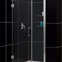 "DreamLine - DreamLine SHDR-20417210CS-01 Unidoor Shower Door - DreamLine Unidoor 41 to 42"" Frameless Hinged Shower Door, Clear 3/8"" Glass Door, Chrome Finish"