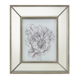 Frontgate - Silvery Blue Tulips I Wall Art - Framed in wide mirrored frame. Frame is accented with petite beading around edges and corners. Beveled mirror. Coordinates with Silvery Blue Tulips II, Silvery Blue Tulips III and Silvery Blue Tulips IV. Arrives ready to hang. Silvery Blue Tulips I features a soft blue background with an intricate illustration of a magnificent bloom rendered in whispers of gray. Influenced by the luxurious botanical prints in English country estates, the wide mirrored frame offers a touch of refined glamour.  .  .  .  .  .
