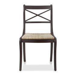 Madeleine Side Chair - Inspired by a vintage French chair, our side chair reflects its heritage in graceful lines, comfortable proportions and timeless quality. Beautifully handcrafted from solid wood and a handwoven rush seat, it's finished with a hand-rubbed dark walnut stain for easy, elegant versatility.
