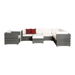 International Home Miami - Atlantic Marseille 8-Piece Grey Wicker Seating Set with White Cushions - Great quality, stylish design patio sets, made of aluminum and synthetic wicker. Polyester cushion with water repellant treatment. Enjoy your patio with elegance all year round with the wonderful Atlantic outdoor collection.