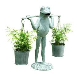 "SPI - Farmer Frog Planter Holder - -Size: 25.5"" H x 25"" W x 9"" D"