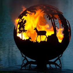 """Up North 37"""" Fire Pit Sphere with Craggy Tree Branch Base - Nick Cool: Image Works Photographic"""