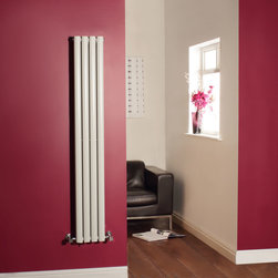 Hudson Reed - Hudson Reed Revive White Vertical Designer Double Radiator 63 x 9 - Revive White Vertical Designer Double Radiator 63 x 9¼With a superior white powder coat finish (RAL9016), this graceful designer radiator boasts a superb heat output of 1,044 Watts (3,560 BTUs) to ensure that your room is heated quickly and efficiently.Specially designed to be narrow yet deliver high heat output, this radiator has 8 oval bars, arranged in four double columns.Bringing a touch of style to any living space, this modern classic connects directly into your domestic central heating system via the angled radiator valves included. This radiator comes complete with a 5 YEAR GUARANTEE.Luxury White Vertical Designer Double Radiator 63 x 9¼    Dimensions (H x W x D): 63 (1600mm) x 9¼ (236mm) x 3 (78mm)    Output: 1,044 Watts (3,560 BTUs)    Depth when fitted: 4.3 (110mm)    Pipe centres with valves: 12.2 (310mm)    Number of columns: 4    Oval columns    Fixing Pack Included (see image above)    Designed to be plumbed into your central heating system    Suitable for bathroom, cloakroom, kitchen etc.    Please note: radiator valves not includedBuy now, to transform your living space, at an affordable price.5 year warranty