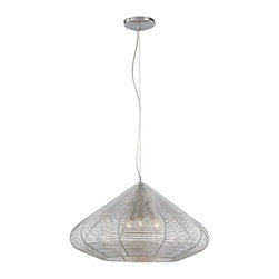 """Trans Globe Lighting - Trans Globe Lighting PND-957 Recycled Alum Wire 16"""" Contemporary Pendant Light - Adjustable Height - hang semi-flush or drop 96 inches. Shade made of braided aluminum wire. 1 light pendant."""