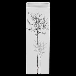 """Benzara - Rectangular Shaped Ceramic Vase in Matt White Finish (Small) - The Rectangular Shaped Ceramic Vase in Matt White Finish (Small) is an elegant ceramic vase that will lend an air of opulence and royalty to your interior home decor. A truly decorative item, this beautiful vase has a lovely rectangular bottle shaped body with a matt white finish and is engraved with a blossoming tree. The ceramic vase can be used as a standalone decor item or can be paired with flowers to give your room an air of freshness and beauty. The dimensions of the Rectangular Shaped Ceramic Vase in Matt White Finish (Small) are 4""""x4""""x12""""H. Ceramic; Matt white; 4""""x4""""x12""""H; Dimensions: 4""""L x 4""""W x 12""""H"""