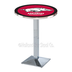 Holland Bar Stool - Holland Bar Stool L217 - Chrome Arkansas Pub Table - L217 - Chrome Arkansas Pub Table belongs to College Collection by Holland Bar Stool Made for the ultimate sports fan, impress your buddies with this knockout from Holland Bar Stool. This L217 Arkansas table with square base provides a commercial quality piece to for your Man Cave. You can't find a higher quality logo table on the market. The plating grade steel used to build the frame ensures it will withstand the abuse of the rowdiest of friends for years to come. The structure is triple chrome plated to ensure a rich, sleek, long lasting finish. If you're finishing your bar or game room, do it right with a table from Holland Bar Stool. Pub Table (1)