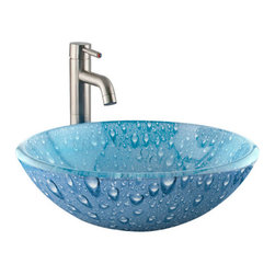 Blue Water Droplet Vessel Sink - This sink features a graphic water droplet pattern on smooth glass that will add a refreshing feel to your lavatory. Pair with a wall-mount or deck-mount faucet to further customize your space.