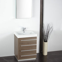Fresca - Fresca Livello 24 Gray Oak Modern Bathroom Vanity w/ Medicine Cabinet - With a Gray Oak finish, the Fresca Livello is a 24 four drawer vanity which features slow close hinges to prevent slamming, and a durable acrylic sink and countertop that is less likely to distress under heavy use. Minimally designed to accentuate your bathroom, the Livello comes with an included medicine cabinet for additional storage. Livello Bathroom Vanity Details:   Dimensions: Vanity: W 23.38 x D 18.63 x H 33.5, Medicine Cabinet: H 26 x W 19.5 x D 5 Material: MDF with Acrylic Counter top/Sink with Overflow Finish: Gray Oak Single hole faucet mount Slow closing drawers Includes medicine cabinet Please note: faucet not included
