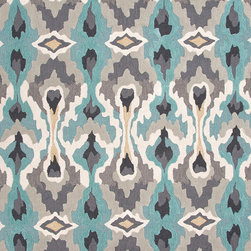 Jaipur Rugs - Transitional Tribal Pattern Blue Polyester Tufted Rug - BR45, 2x3 - A youthful spirit enlivens Esprit, a collection of contemporary rugs with joie de vivre! Punctuated by bold color and large-scale designs, this playful range packs a powerful design punch at a reasonable price.