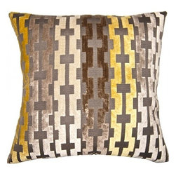 Squarefeathers - Soleil Grid Pillow - A beautiful collection that is true to its name. Make your bedroom glow with the Soleil pillow collection! Made of rayon and polyester with a grey polyester velvet back and a knife edge trim. It has a soft and pump feataher/down insert inclosed with a zipper. Like all of our products, this pillow is handmade, made to order exclusively in our studio right here in the USA.