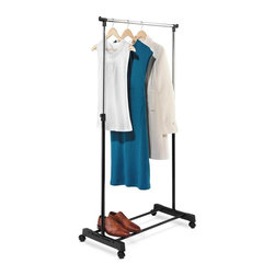 "Honey Can Do - Adjustable Height Garment Rack, Chrome/Black - Adjustable height from 40"" to 65"". Locking swivel casters- easy to move. Steel frame- sturdy & rust-resistant. Bottom shoe rack. 33.07 in. W x 16.73 in. 40.16-65.75 in. H"