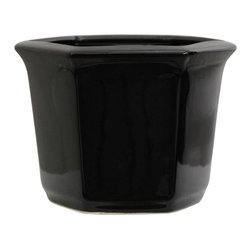 "Oriental Furniture - 10"" Solid Black Porcelain Flower Pot - A high-luster monochrome black hexagonal planter pot suited for modern or minimalist interior design. Comes with a hole pre-drilled into the bottom for watering live plants. Can also be used for dry or dry flower arrangements and plants or a small silk tree."