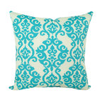 Land of Pillows - Waverly Sun N Shade Luminary Turquoise Damask Print Outdoor Pillow, 16x16 - Fabric Designer - Waverly