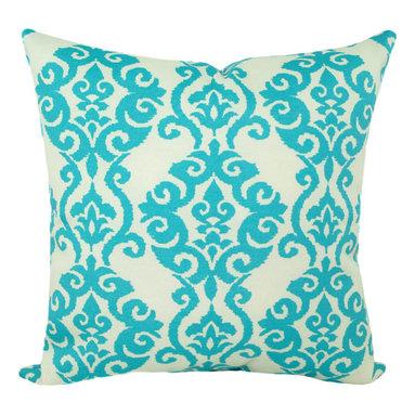 Land of Pillows - Waverly Sun N Shade Luminary Turquoise Damask Print Outdoor Pillow, 16x16 - Fabric Designer - Waverly