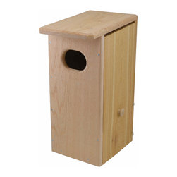 Songbird Essentials - Wood Duck House - Wood Duck House. 4 inch by 3 inch front entrance hole. Long-lasting Western Red Cedar construction. Side opening for water front or land mounting. Side opens 2 ways for undisturbed viewing of nest, bottom half opens for cleaning. Inside ladder for ducklin