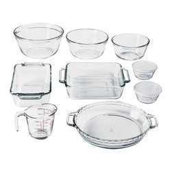 Anchor Hocking - 11 Pc. Glass Bakeware Set - 11 Pc. Bake Set: 8 in. aquare cake dish, 9.5 in. deep pie plate, 1.5 qt. Loaf, 16 oz measuring cup, 1 qt. mixing bowl, 1.5 qt. mixing bowl, 2.5 qt. mixing bowl, 2 x 6 oz. mustard cups w/ clear plastic lids