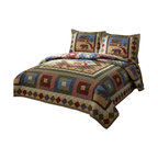 Pem America - Hunting Cabin King Quilt With 2 Standard Shams - Rustic and full of the wild is this classic lodge inspired quilt with icons of the bear and wolf. Rich earth tone browns, blues and greens dominate this quilt with a drop of patch work squares and diamonds.