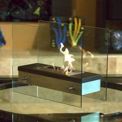 """Bluworld Innovations, LLC - Ardore Tabletop Fireplace 15.74""""H x 18.5""""W x 7.87""""D Black Heat Resistant - Italian for """"fiery passion"""", this elegant fireplace lives up to its name. A large capacity stainless steel burner is capped with a sleek black cover drawing attention to the dancing flames. The burner is suspended between two thick tempered glass panels which reflect and enhance the fire. Easily adjust the flame height or extinguish it completely with the provided dampener tool. Fuel not included, we recommend using Nu-Flame Bio-Ethanol Fuel. For indoor use only."""