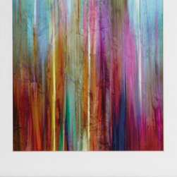 Sunset Falls 1 - Small - Beautiful bold colors draw you into this piece of art. It's a John Butler Print framed in brushed silver frame with white matboard.