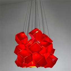 """Shakuff - Noga - Red - An artful cluster of suspended Red Glass dice. Glowing from within, each cube appears to melt right into the next.    Here are the options for creating your custom chandelier:    Noga comes in two sizes:     Small: 3-1/4"""" x 3-1/4"""" ($286 per light)   Large: 5-3/4"""" x 5-3/4"""" ($442 per light)   """" additional canopy costs may apply - see options below. Large size pendants can be clustered in 1-4 pieces, no more. For larger clusters you need to choose the small size.   ;     Glass colors available for Noga: Molten Red, & Milk.     Hardware Finishes: Antique Bronze, Dark Bronze, Matte Silver, Matte Black, and Matte White. Additional finishes are available for an up charge.    Glass cube hanging on a diagonal, with cutout on bottom corner. Small Size is best in clusters of 24 (with a single Galilee pendant in the center to add width). This glass arrangement measures approximately 16"""" in diamater and 17"""" in height (shown in image 1)    Low voltage lighting  includes an electronic transformer and a CFL 25 watt max bulb for large  pendants and LED G4 1.6 watt bulb for small pendants. Five feet of  wiring comes standard with each pendant, and custom lengths are  available for $10 per additional foot.          Canopy Options & Pricing:     Up to 12 round or square with 7 lights or less - square add $170 to  the cost of pendants, round add $360 to the cost of pendants. Note-  Up to 18 round or square with 8 lights or more -  included in price of pendants    18-24 round or square with 16 lights or more -  included in price of pendants    24-36 round or square with 24 lights or more -  included in price of pendants Note-  Other shapes (rectangles, ovals, triangles, etc.) or any shape 36 and  larger, please call for price.Individual 5"""" round canopies are also  available, add $150 to the cost of each pendant.     Please note that the price listed  pertains to a fixture that will appear very similar to the light shown  in the featured photograph and as outlined i"""