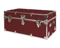 Rhino - Rhino Armor Storage Trunk in Wine (Super Jumb - Choose Size: Super JumboTwo nickel plated steel universal wheel adapter plates mounted on the side of the trunk. Laminated armor exterior. Strong hand-crafted construction using both old world trunkmaking skills and advanced aviation rivet technology. Steel and aluminum aircraft rivets used to ensure durability. Heavy duty proprietary nickel plated steel hardware. Steel lid hinges and steel lid stay for keeping the lid propped open. Tight fitting steel tongue and groove lid to base closure to keep out moisture, dirt, insects and odors. Stylish lockable nickel plated steel trunk lock. Loop for attaching a padlock. Genuine leather handles. American craftsmanship. Self-sticking adhesive on the back of the name plate. Upper or lower case lettering. Lettering is in black. The name plate can take 24 characters per line. The max number of lines is 2. Warranty: Lifetime warranty includes free non-cosmetic repairs for the life of the trunk. Made from smooth 0.38 in. premium grade baltic birch hardwood plywood. No paper or plastic lining anywhere avoiding peeling or tearing. Name plate made from plastic. No assembly required. Cube: 20 in. W x 18 in. D x 18 in. H (22 lbs.). Small: 30 in. W x 16 in. D x 12.5 in. H (24 lbs.). Medium: 30 in. W x 16 in. D x 16 in. H (26 lbs.). Large: 32 in. W x 18 in. D x 14 in. H (27 lbs.). Extra Large: 34 in. W x 20 in. D x 15 in. H (32 lbs.). Extra Extra Large: 36 in. W x 18 in. D x 18 in. H (36 lbs.). Jumbo: 40 in. W x 22 in. D x 20 in. H (52 lbs.). Super Jumbo: 44 in. W x 24 in. D x 22 in. H (69 lbs.). Name Plate: 3 in. L x 1 in. H (0.5 lbs.)The hand-crafted American Made Rhino Armor Cube is constructed from the highest quality components. Rhino Armor is an exterior 1000d Cordura Nylon textured sheathing that's highly resistant to water penetration, denting and scratching. The Rhino Armor Cube is conveniently sized and ruggedly built. In fact, its strong enough to stand on ! The Rhino Ar