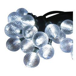 Smart Solar - Solar Light String - 30pc set - White LED Crystal Balls - Ideal for decorating shrubs, parasols, and doorways. Powered by a separate amorphous solar panel allowing lights to be placed in shady areas. 30 energy saving multi color LED's with translucent stylized covers. LED's supplied on a 24.3 ft string, with 6.0 in spacing between lights and 9.8 ft lead wire from first light to the solar panel. Automatically illuminates at dusk and turns off at dawn. Up to 6 hours of light each night when fully charged. Replaceable, rechargeable Ni-MH battery. No wiring, simply install and enjoy. No operating costs.