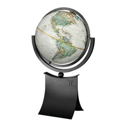 National GEographic - Phoenix National Geographic World Globe - The Phoenix II features a striking  modern style base combined with elegant parchment colored globe cartography.