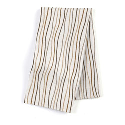 Tan & Brown Wavy Lines Custom Napkin Set - Our Custom Napkins are sure to round out the perfect table setting'whether you're looking to liven up the kitchen or wow your next dinner party. We love it in this modern wavy lined stripe in gold, brown & gray.  a hint of playfulness to liven up any space.