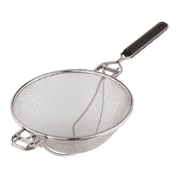 Paderno World Cuisine - 13-3/4-in. Stainless-steel Strainer with Reinforced Support - This 13-3/4-in. stainless-steel strainer with reinforced support is a staple in any kitchen. Its solid mesh will retain all food particles. It is made of stainless steel and has a stay-cool, ABS handle.