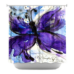 DiaNoche Designs - Shower Curtain Artistic - Butterfly Song IV - DiaNoche Designs works with artists from around the world to bring unique, artistic products to decorate all aspects of your home.  Our designer Shower Curtains will be the talk of every guest to visit your bathroom!  Our Shower Curtains have Sewn reinforced holes for curtain rings, Shower Curtain Rings Not Included.  Dye Sublimation printing adheres the ink to the material for long life and durability. Machine Wash upon arrival for maximum softness. Made in USA.  Shower Curtain Rings Not Included.