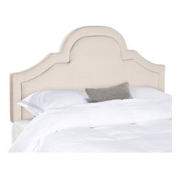 Safavieh - Kerstin Arched Full Headboard - Taupe - Romantic and refined, the beautifully arched Kerstin headboard adds architectural interest to any bedroom in need of a dramatic focal point. Luxuriously high for comfortable TV viewing and reading, this headboard is richly upholstered in taupe natural linen with extra padding emphasizing a lavish border. Attaches to any standard size metal frame bed.