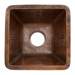 """Premier-Copper-Products - 15"""" Square Fleur De Lis Copper Bar Sink W 3.5"""" Drain - BS15FDB3 Premier Copper Products BS15FDB3 15 Square Fleur De Lis Copper Bar Sink"""