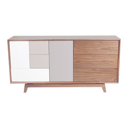 NyeKoncept - Grane Sideboard - This modern storage unit is a result of our designers' wild imagination. Can a sideboard be interesting looking and useful at the same time? Yes it can, and this revolutionary design proves that. Combining several drawers that offer the necessary storage space with the open areas given by the adjustable shelves, this sideboard can adapt to any interior design outline.