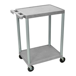 """Luxor - Luxor Transport Cart - HE32-G - The HE32 is a two shelf utility cart made of high density polyethylene structural foam molded plastic shelves and legs that won't stain, scratch, dent or rust. Features a retaining lip around the back and sides of flat shelves. Includes four heavy duty 4"""" casters, two with brake. Has a push handle molded into the top shelf. All shelves are reinforced with two aluminum bars."""