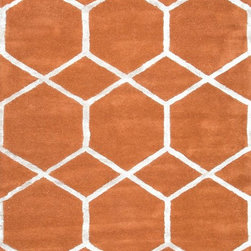 Jaipur - Contemporary City 5'x8' Rectangle Orange Spice-Orange Spice Area Rug - The City area rug Collection offers an affordable assortment of Contemporary stylings. City features a blend of natural Orange Spice-Orange Spice color. Hand Tufted of Wool & Art Silk the City Collection is an intriguing compliment to any decor.