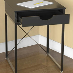 Convenience Concepts - End Table with Drawer - Open cross bar back. Spacious drawer for storage. Sized to fit under the catalina desk. Limited warranty. Made from painted wood. Rich black wood grain finish. Assembly required. 17.7 in. W x 17.7 in. D x 24 in. H (21 lbs.)