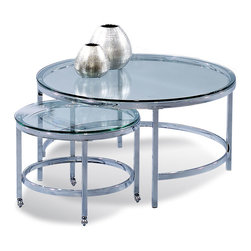 Bassett Mirror - Patinoire Round Cocktail Table On Casters - Chrome plated modular cocktail with nesting castered table. Polished bull-nose glass tops. Measures: 34 in. W x 34 in. D x 18 in. H. Part of the Patinoire Collection.