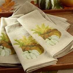 """Painted Pumpkin Dinner Napkin, 22"""", Set of 4 - A symbol of the season, this pumpkin was first painted by our in-house artist, then finely printed on the corners of these fun autumnal napkins. 20"""" square Woven of a linen/cotton blend. Set of 4. Machine wash. Imported."""