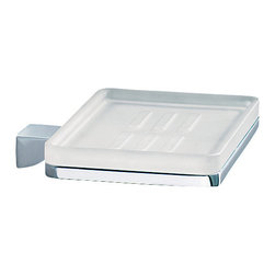 Gedy - Wall Mounted Square Frosted Glass Soap Dish With Chrome Mounting - Modern, decorative square frosted glass soap dish with brass mounting.