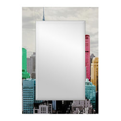 Oriental Furniture - Colorful New York City Mirror - Wide frame wall mirror featuring a cityscape design surrounding high-quality mirror glass. Black and white New York City skyline is accented with colorized skyscrapers in bright hues.