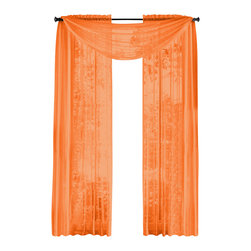 "HLC.ME - HLC.ME  Pair of Sheer Panels Window Treatment Curtains, Orange - Each panel is approximately 54"" wide and 84"" in Length. For a full look use 2 panels to cover a standard size window. This picture shows two sheer panels  this package contains two (2) Sheer Panel. Decorate every window with style and sophistication. Allows natural light to flow through the room . Add a Sheer Scarf for an elegant finished look (not included) . Have pocket insert that create a clean  tailored look. The finishing touch for your window is a beautiful Decorative Curtain Rod (not included)."