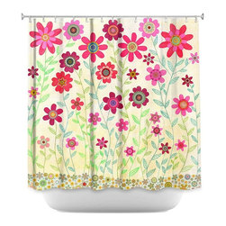 DiaNoche Designs - Shower Curtain Artistic - Pink Retro Flowers - DiaNoche Designs works with artists from around the world to bring unique, artistic products to decorate all aspects of your home.  Our designer Shower Curtains will be the talk of every guest to visit your bathroom!  Our Shower Curtains have Sewn reinforced holes for curtain rings, Shower Curtain Rings Not Included.  Dye Sublimation printing adheres the ink to the material for long life and durability. Machine Wash upon arrival for maximum softness. Made in USA.  Shower Curtain Rings Not Included.