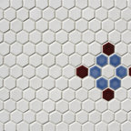 """1"""" Hexagon pattern - Classic white hex with a traditional design insert. Colors can be done in any one of Pratt and Larson's 300+ glaze options."""