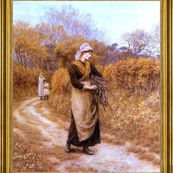 """Helen Allingham-16""""x20"""" Framed Canvas - 16"""" x 20"""" Helen Allingham Gathering Firewood framed premium canvas print reproduced to meet museum quality standards. Our museum quality canvas prints are produced using high-precision print technology for a more accurate reproduction printed on high quality canvas with fade-resistant, archival inks. Our progressive business model allows us to offer works of art to you at the best wholesale pricing, significantly less than art gallery prices, affordable to all. This artwork is hand stretched onto wooden stretcher bars, then mounted into our 3"""" wide gold finish frame with black panel by one of our expert framers. Our framed canvas print comes with hardware, ready to hang on your wall.  We present a comprehensive collection of exceptional canvas art reproductions by Helen Allingham."""